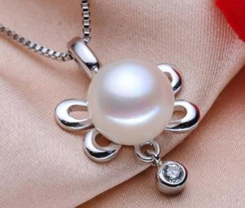925 silver Necklace with pearl and diamond