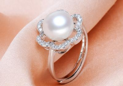 925 silver fresh water white pearl ring