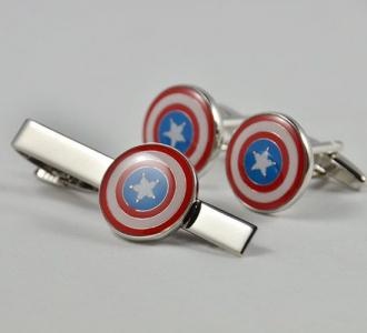 silver brass logo cufflinks and tie clip