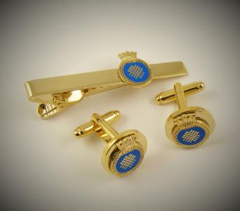 custom gold design cufflinks and tie clip