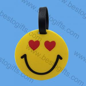silicone rubber round smile face luggage tag