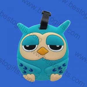 soft rubber owl luggage tag