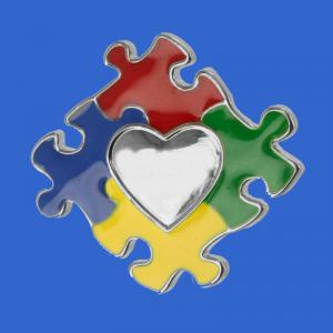 Puzzle shape autism awareness metal pin