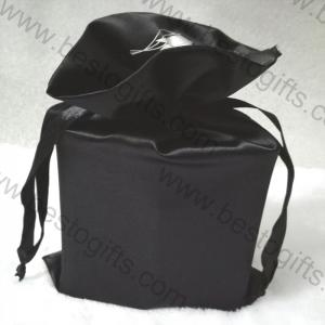 Black suede bag with silver logo