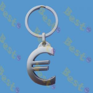 Euro coin trolley coin key chain