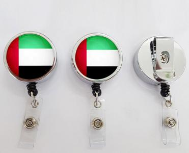UAE flag reel badge with ID card holder