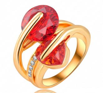 18K gold zircon crystal ring