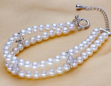 925 silver round fresh water pearl bracelet