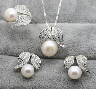 925 silver fresh water pearl jewelry set