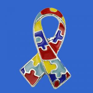 ribbon shape Autism awareness brooch pin